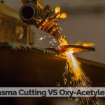 A plasma cutter cutting metal