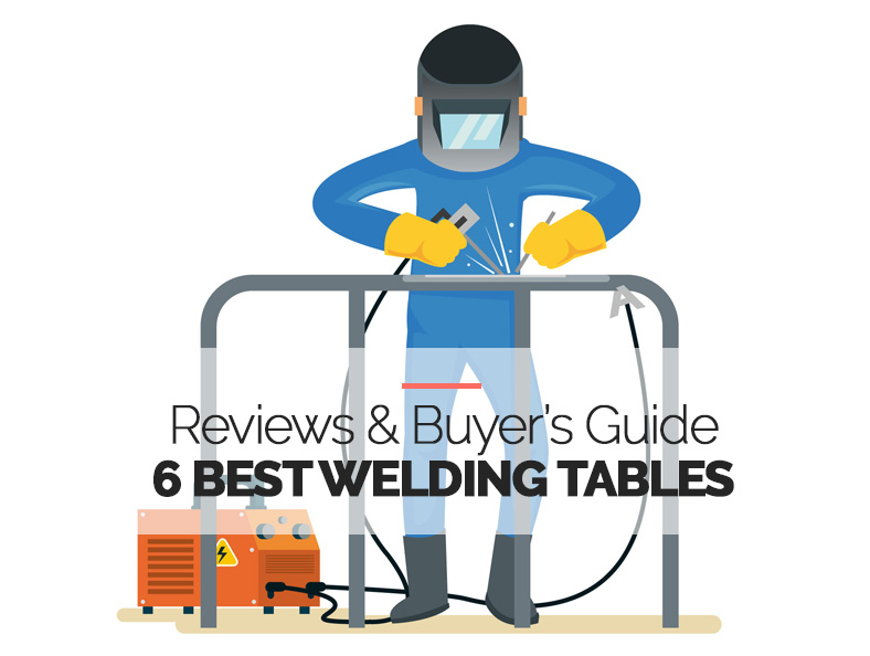 A clip art of a man using a welding table