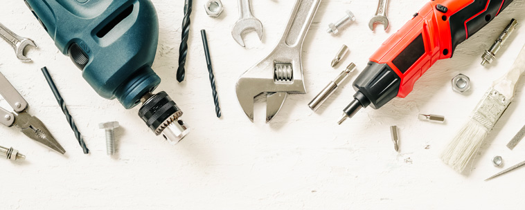 wrenches, drills and other repair tools