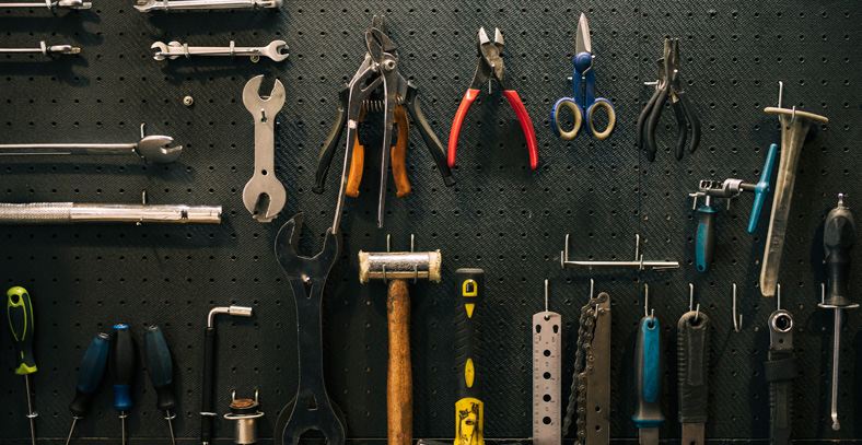tools stored on the wall