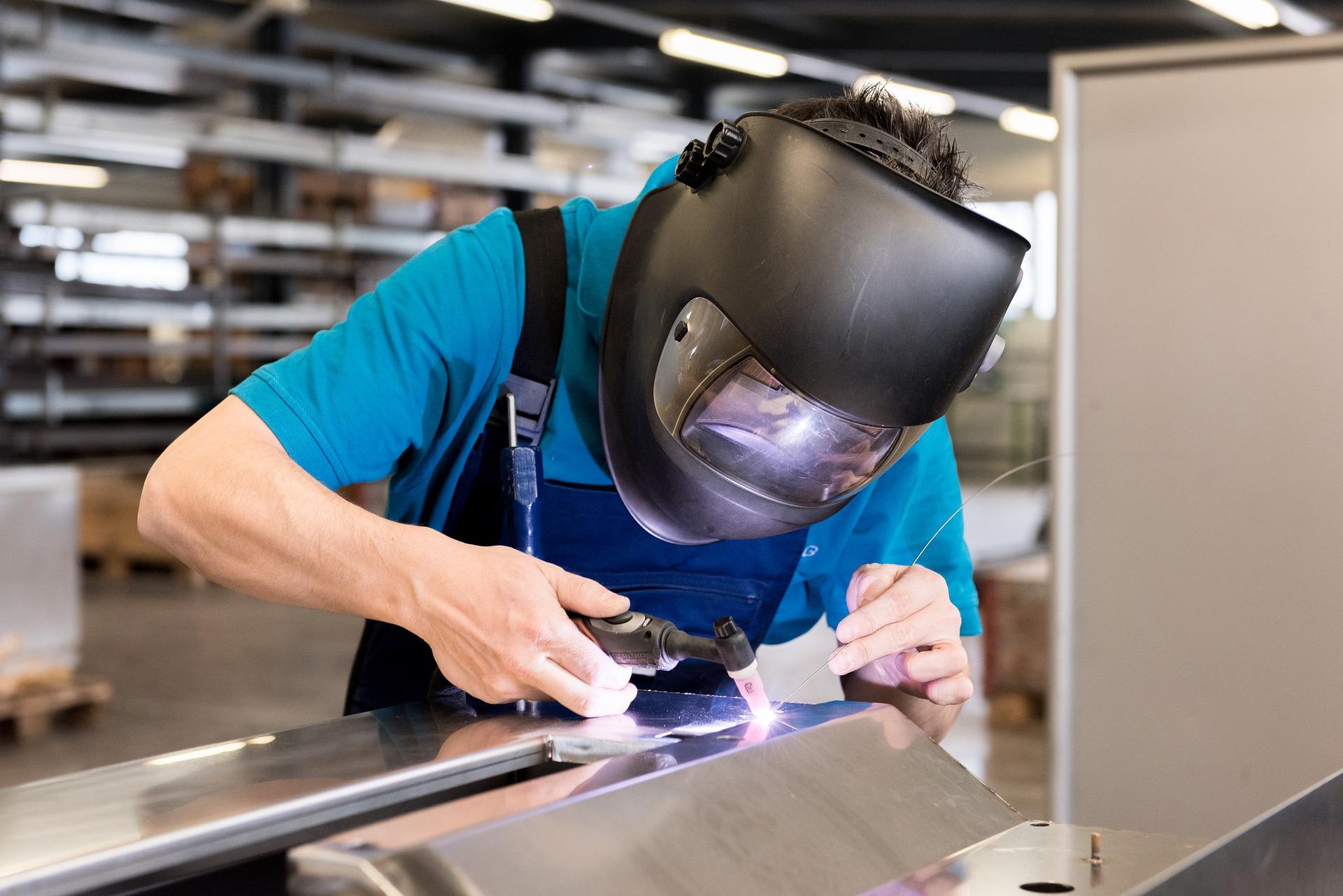 A professional welder working